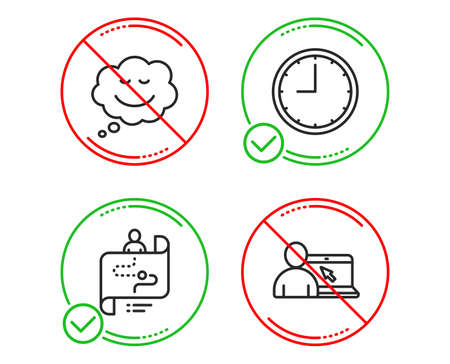 Do or Stop. Time, Speech bubble and Journey path icons simple set. Online education sign. Office clock, Comic chat, Project process. Internet lectures. Technology set. Line time do icon. Vector