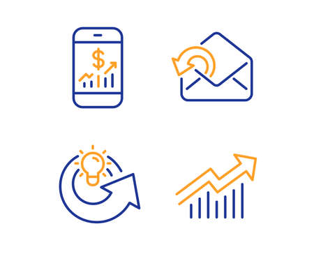 Mobile finance, Send mail and Share idea icons simple set. Demand curve sign. Phone accounting, Sent message, Solution. Statistical report. Business set. Linear mobile finance icon. Vector