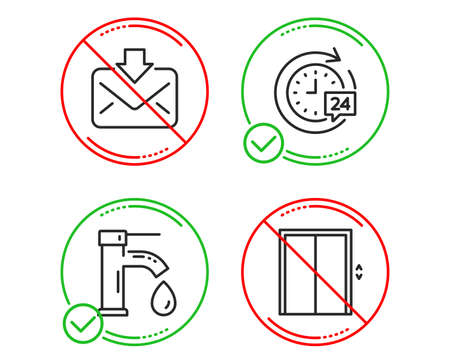 Do or Stop. Tap water, Incoming mail and 24h delivery icons simple set. Lift sign. Faucet, Download message, Stopwatch. Elevator. Technology set. Line tap water do icon. Prohibited ban stop. Vector Foto de archivo - 124535485