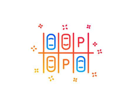 Parking place line icon. Car park sign. Transport symbol. Gradient design elements. Linear parking place icon. Random shapes. Vector