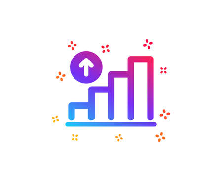 Graph icon. Column chart sign. Growth diagram symbol. Dynamic shapes. Gradient design graph chart icon. Classic style. Vector