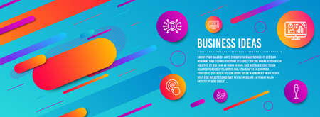 Header banner. Online video, Analytics graph and Click icons simple set. Bitcoin system, Leaf and Champagne glass signs. Video exam, Growth report. Business set. Line online video icon. Vector