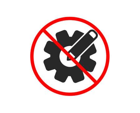 No or Stop. Cogwheel icon. Engineering tool sign. Edit settings symbol. Prohibited ban stop symbol. No cogwheel icon. Vector