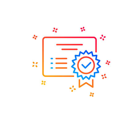 Certificate line icon. Verified document sign. Accepted or confirmed symbol. Gradient design elements. Linear certificate icon. Random shapes. Vector