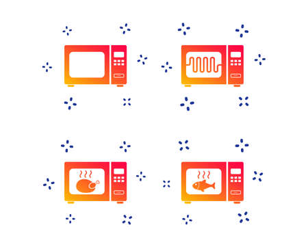 Microwave oven icons. Cook in electric stove symbols. Grill chicken and fish signs. Random dynamic shapes. Gradient microwave icon. Vector Imagens - 124535500