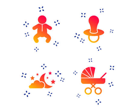 Moon and stars symbol. Baby infants icon. Buggy and dummy signs. Child pacifier and pram stroller. Random dynamic shapes. Gradient stars icon. Vector