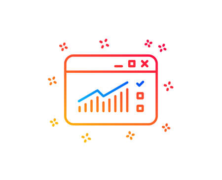 Website Traffic line icon. Report chart or Sales growth sign. Analysis and Statistics data symbol. Gradient design elements. Linear web Traffic icon. Random shapes. Vector Illustration