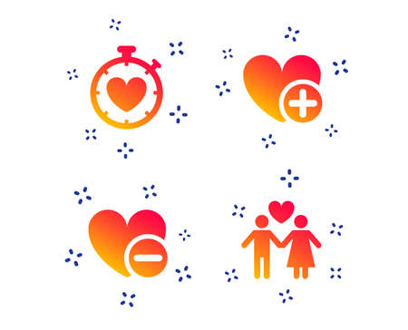 Valentine day love icons. Love heart timer symbol. Couple lovers sign. Add new love relationship. Random dynamic shapes. Gradient love icon. Vector