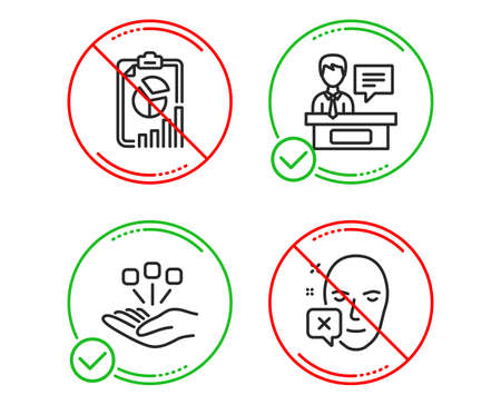 Do or Stop. Report, Consolidation and Exhibitors icons simple set. Face declined sign. Presentation chart, Strategy, Information desk. Identification error. Science set. Line report do icon. Vector