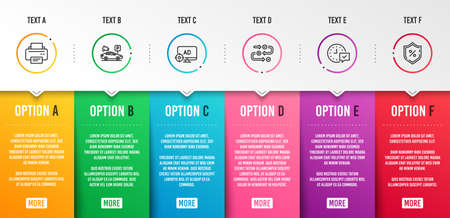 Seo adblock, Parking security and Printer icons simple set. Survey progress, Select alarm and Loan percent signs. Search engine, Video camera. Technology set. Infographic template. 6 steps timeline