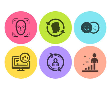 Face detection, Like video and User info icons simple set. Like, Face id and Stats signs. Detect person, Thumbs up. People set. Flat face detection icon. Circle button. Vector Illustration