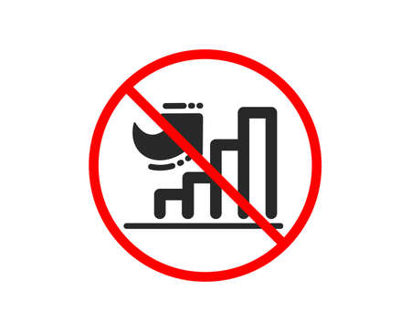 No or Stop. Growth chart icon. Column graph sign. Market analytics symbol. Prohibited ban stop symbol. No growth chart icon. Vector