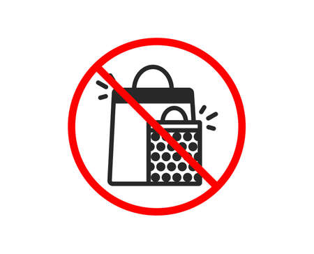 No or Stop. Shopping bags icon. Sale Marketing symbol. Special offer sign. Prohibited ban stop symbol. No shopping bags icon. Vector
