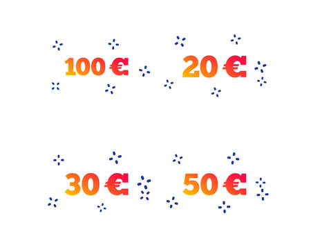 Money in Euro icons. 100, 20, 30 and 50 EUR symbols. Money signs Random dynamic shapes. Gradient euro icon. Vector 向量圖像