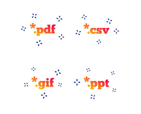 Document icons. File extensions symbols. PDF, GIF, CSV and PPT presentation signs. Random dynamic shapes. Gradient file icon. Vector