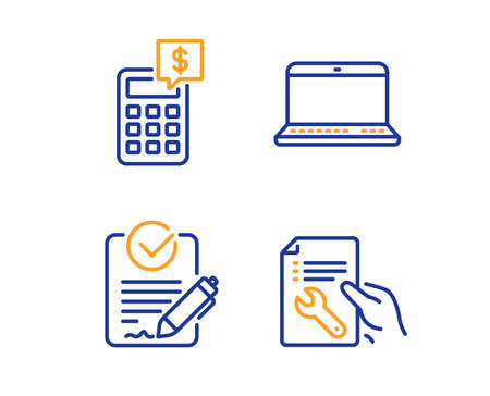 Rfp, Notebook and Calculator icons simple set. Repair document sign. Request for proposal, Laptop computer, Money management. Spanner tool. Business set. Linear rfp icon. Colorful design set. Vector