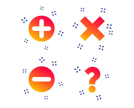 Plus and minus icons. Delete and question FAQ mark signs. Enlarge zoom symbol. Random dynamic shapes. Gradient question icon. Vector 向量圖像