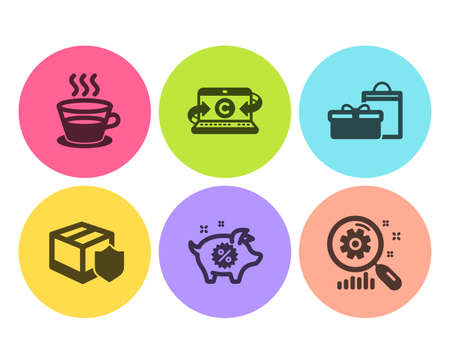 Delivery insurance, Coffee cup and Piggy sale icons simple set. Copywriting notebook, Gifts and Search statistics signs. Parcel protection, Tea mug. Flat delivery insurance icon. Circle button. Vector