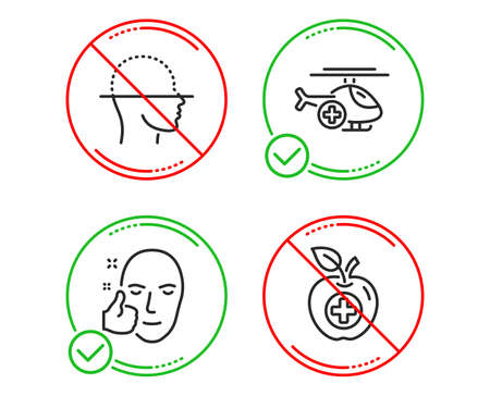 Do or Stop. Face scanning, Medical helicopter and Healthy face icons simple set. Medical food sign. Faces detection, Sky transport, Healthy cosmetics. Apple. Healthcare set. Line face scanning do icon Banque d'images - 124535536