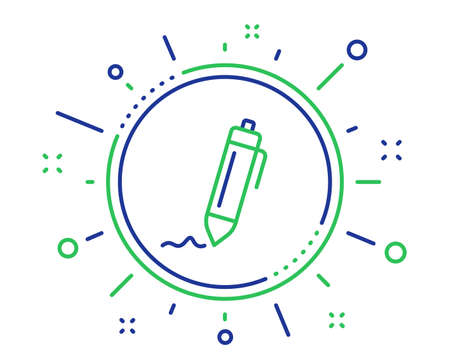 Signature line icon. Written pen sign. Education symbol. Quality design elements. Technology signature button. Editable stroke. Vector Banco de Imagens - 124535538