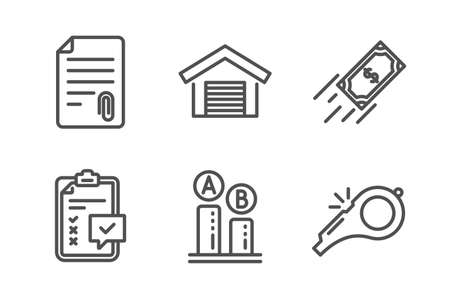 Checklist, Parking garage and Attachment icons simple set. Ab testing, Fast payment and Whistle signs. Survey, Car place. Line checklist icon. Editable stroke. Vector Illustration