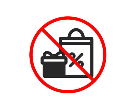No or Stop. Gift box with Shopping bag icon. Present or Sale sign. Birthday Shopping with Discounts symbol. Package in Gift Wrap. Prohibited ban stop symbol. No shopping icon. Vector