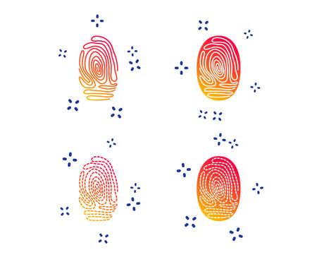 Fingerprint icons. Identification or authentication symbols. Biometric human dabs signs. Random dynamic shapes. Gradient fingerprint icon. Vector