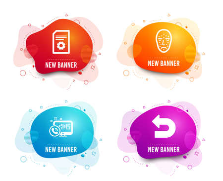 Liquid badges. Set of Face biometrics, File settings and Web call icons. Undo sign. Facial recognition, File management, Phone support. Left turn.  Gradient face biometrics icon. Flyer fluid design Illustration