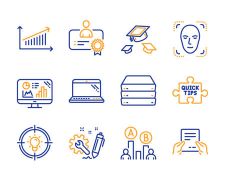 Throw hats, Engineering and Servers icons simple set. Idea, Chart and Quick tips signs. Laptop, Ab testing and Certificate symbols. Analytics graph, Face detection and Receive file. Vector