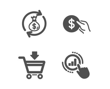 Set of Online market, Money exchange and Payment icons. Graph chart sign. Shopping cart, Cash in bag, Usd coin. Get report.  Classic design online market icon. Flat design. Vector