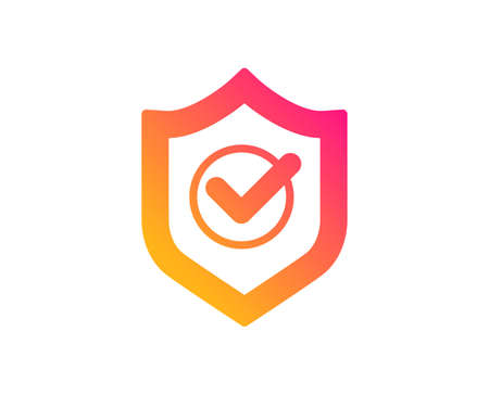 Approved shield icon. Accepted or confirmed sign. Protection symbol. Classic flat style. Gradient approved shield icon. Vector