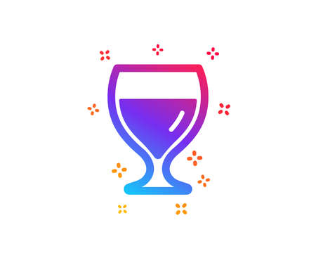 Wine glass icon. Alcohol drink sign. Beverage symbol. Dynamic shapes. Gradient design wine glass icon. Classic style. Vector Çizim