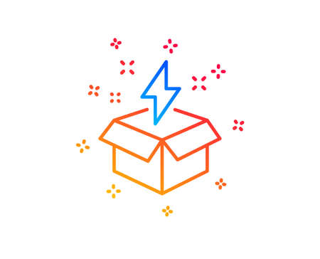 Out of the box line icon. Creativity sign. Gift box with lightning bolt symbol. Gradient design elements. Linear creative idea icon. Random shapes. Vector