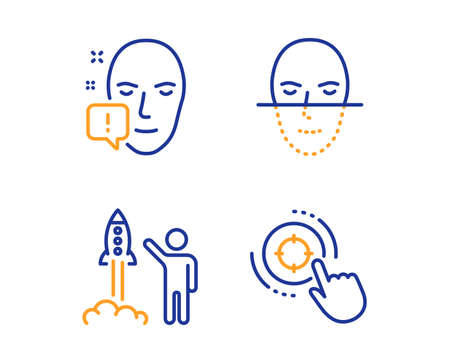 Launch project, Face recognition and Face attention icons simple set. Seo target sign. Business innovation, Faces biometrics, Exclamation mark. Click aim. People set. Linear launch project icon Imagens - 124535579