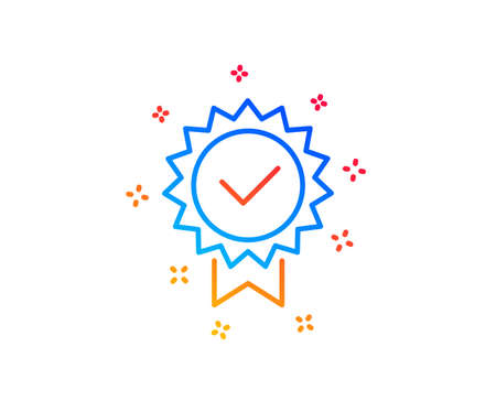 Certificate line icon. Verified award sign. Accepted or confirmed symbol. Gradient design elements. Linear certificate icon. Random shapes. Vector Ilustração