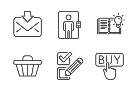 Incoming mail, Shop cart and Elevator icons simple set. Product knowledge, Checkbox and Buying signs. Download message, Web buying. Line incoming mail icon. Editable stroke. Vector Vettoriali