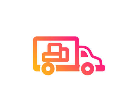 Truck transport icon. Transportation vehicle sign. Delivery symbol. Classic flat style. Gradient truck transport icon. Vector
