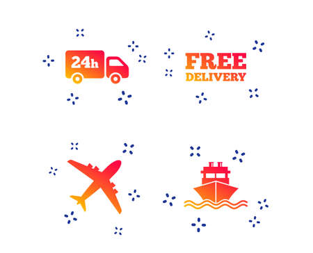 Cargo truck and shipping icons. Shipping and free delivery signs. Transport symbols. 24h service. Random dynamic shapes. Gradient delivery icon. Vector