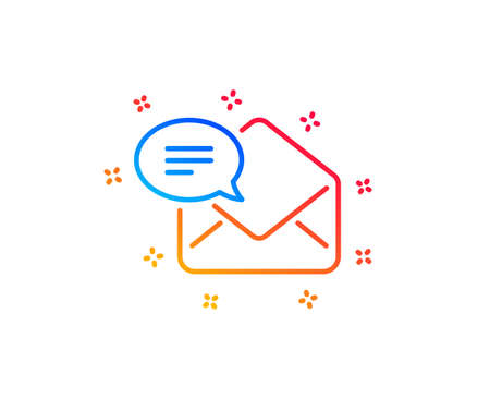 New Mail line icon. Message correspondence sign. E-mail symbol. Gradient design elements. Linear new Mail icon. Random shapes. Vector