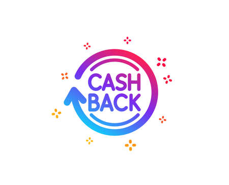 Cashback service icon. Money transfer sign. Rotation arrow symbol. Dynamic shapes. Gradient design cashback icon. Classic style. Vector