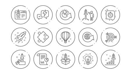 Startup line icons. Launch Project, Business report and Target. Strategy linear icon set. Line buttons with icon. Editable stroke. Vector Ilustração