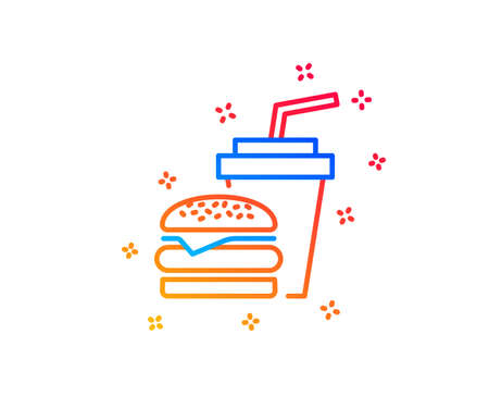 Hamburger with drink line icon. Fast food restaurant sign. Hamburger or cheeseburger symbol. Gradient design elements. Linear hamburger icon. Random shapes. Vector