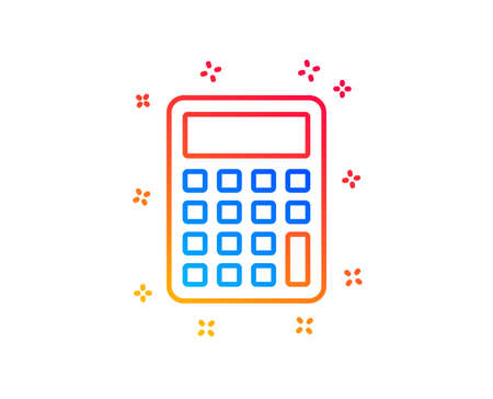 Calculator line icon. Accounting sign. Calculate finance symbol. Gradient design elements. Linear calculator icon. Random shapes. Vector