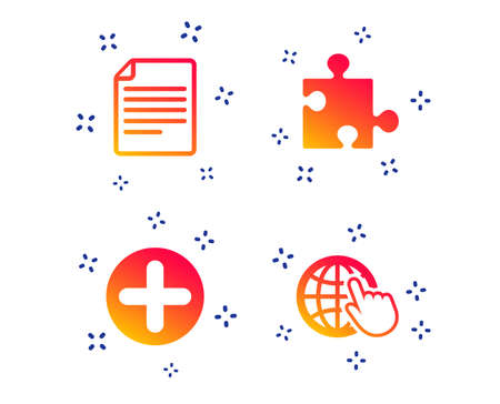 Plus add circle and puzzle piece icons. Document file and globe with hand pointer sign symbols. Random dynamic shapes. Gradient puzzle icon. Vector