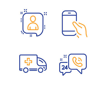 Ambulance emergency, Developers chat and Hold smartphone icons simple set. 24h service sign. Medical transport, Manager talk, Phone call. Call support. Linear ambulance emergency icon. Vector Stock Illustratie