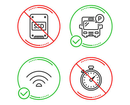 Do or Stop. Wifi, Bus parking and Ssd icons simple set. Timer sign. Wi-fi internet, Public park, Solid-state drive. Stopwatch gadget. Technology set. Line wifi do icon. Prohibited ban stop. Vector Illustration