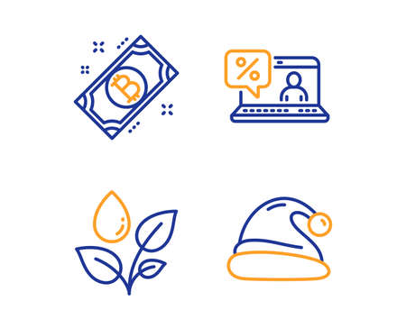 Online loan, Plants watering and Bitcoin icons simple set. Santa hat sign. Discount percent, Water drop, Cryptocurrency coin. Christmas. Linear online loan icon. Colorful design set. Vector