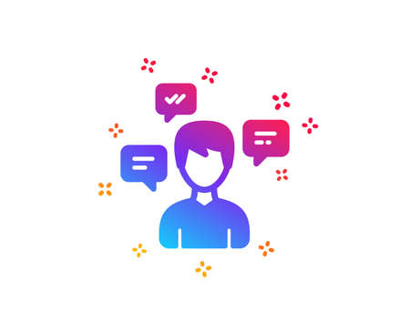 Chat Messages icon. Conversation sign. Communication speech bubbles symbol. Dynamic shapes. Gradient design conversation messages icon. Classic style. Vector