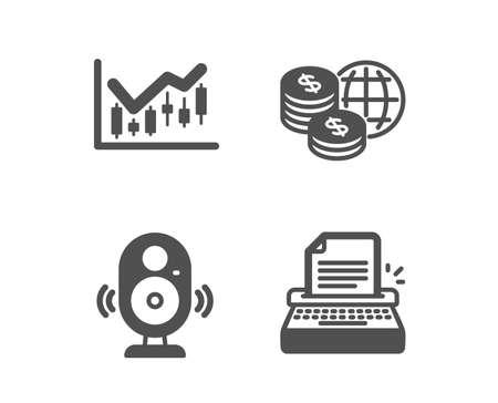 Set of Speaker, Financial diagram and World money icons. Typewriter sign. Music sound, Candlestick chart, Global markets. Writer machine.  Classic design speaker icon. Flat design. Vector