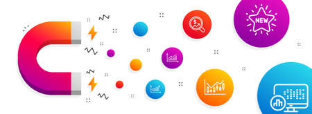 Magnet attracting. Graph, Currency audit and Chart icons simple set. New star, Financial diagram and Report statistics signs. Presentation diagram, Money chart. Finance set. Line graph icon. Vector Banque d'images - 118568482